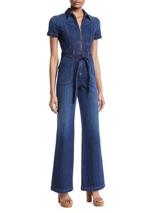 #розвантажуюсь джинсовый брючный комбинезон из денима с накладными карманами