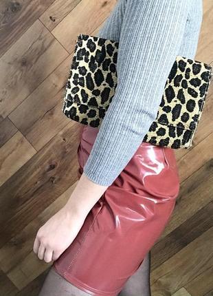 Клатч сумка плетеный леопардовый анимал принт летний вечерний