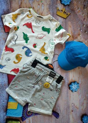 Костюм  летний, динозаврик george шорты, футболка и кепка