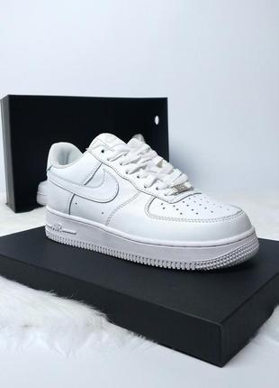 🔥потрясающие кожаные кроссовки nike air force в белом цвете😍