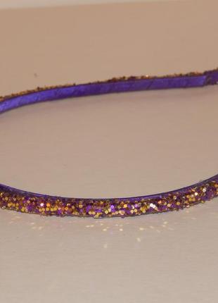Фиолетовый ободок обруч с кристаллами