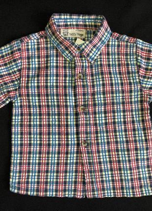 Хлопковая рубашка teddy togs в клетку для 1-1,5 лет