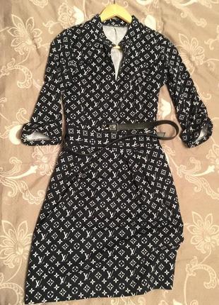 Платье трикотажное тёплое с поясом