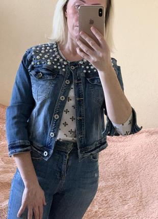 Джинсовая куртка с камнями джинсовка короткая премиум класса