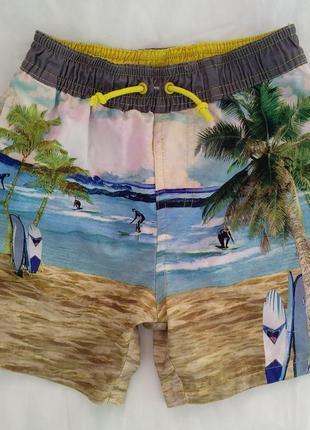 """Шорты-плавки """"tu"""" р.104-110 мальчику 4-5лет, пляжные с трусиками, гавайские"""