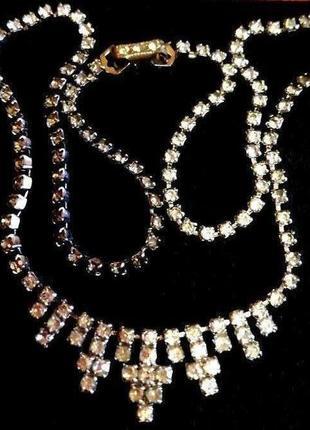 Винтажное вечернее колье с кристаллами 🌟сверкающие как бриллианты 💎 горячие скидки 🔥