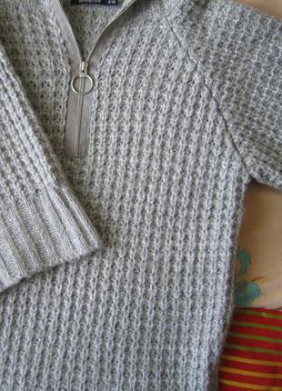 Очень теплая удлиненная кофта (кардиган), крупная вязка, шерстянаа
