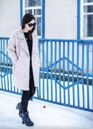 Оверсайз пальто, букле. пыльно розовое. dusty pink дёшево