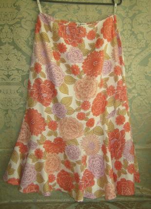 Красивая цветастая летняя юбка миди на подкладке в идеале лен льняная на лето