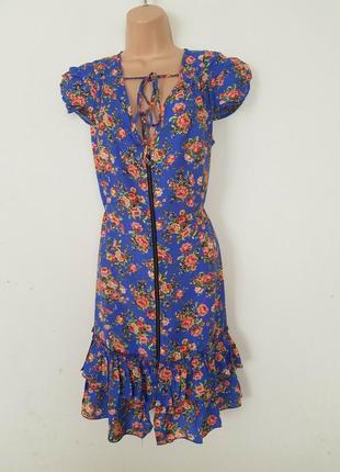 River island легкое цветочное платье халат из вискозы, р.14, европ.42