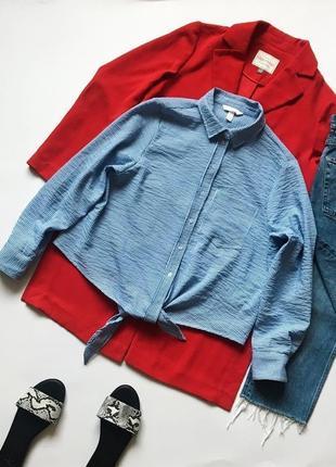 Фактурная короткая рубашка в полоску на завязках