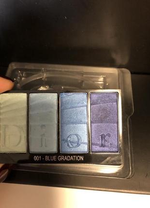 Палетка теней 4оттенка dior colour gradation eyeshadow 4 colours #001 blue gradation