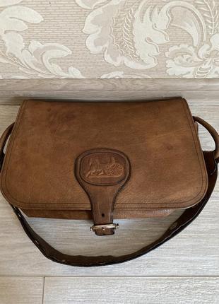 Celine оригинал винтажная коричневая кожаная сумка на плечо кроссбоди