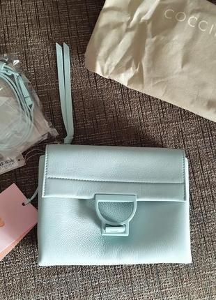 Новая сумка coccinelle кожа мятный цвет кроссбоди съёмные ручки (короткая, длинная)