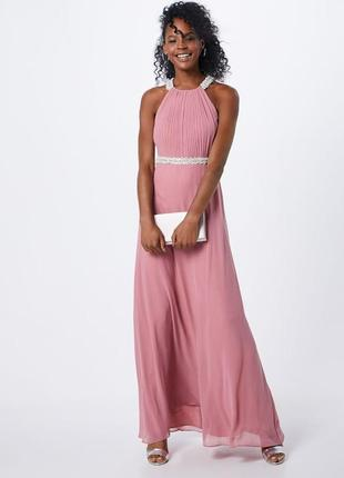 Дизайнерское свадебное вечернее нарядное длинное платье шифоновое с камнями летящее