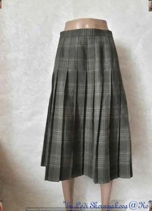 Фирменная ewm шерстянная на 100% юбка миди плиссе цвета хаки, размер 5хл-6хл