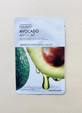 Тканевая маска the face shop real nature avocado avocat