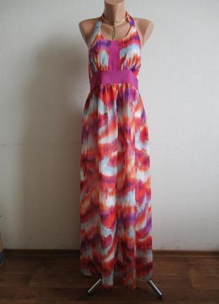 Sale -50%! длинное макси платье в пол в разноцветный принт et vous