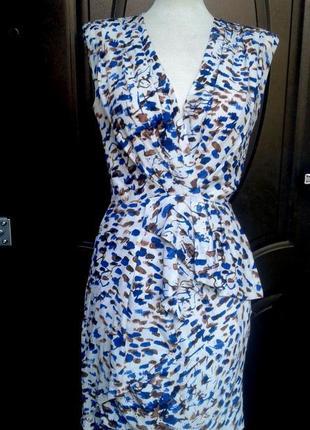 Уценка! красивейшее шелковое платье на запах с басочкой, xs - m.