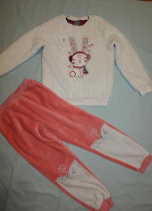 George пижама плюшевая скомбинированная кофта со штанишками на девочку 9-10 лет
