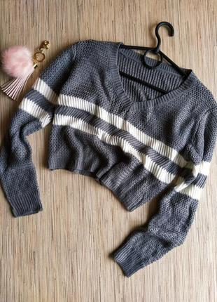 Шикарный кроп-топ вязаный свитерок с полосками
