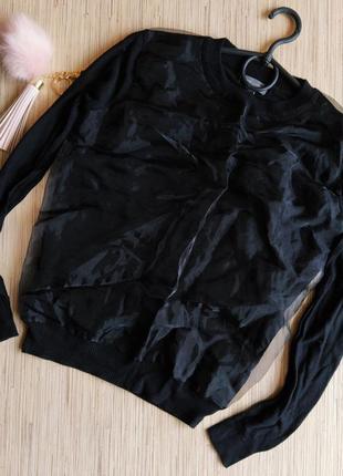 Шикарный свитерок с вставкой из органзы