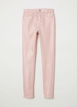 Стильный розовые штаны с напылением для девочек, h&m