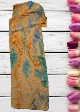 🌻🌻шарф легкий красивый разноцветный с вышивкой по низу  🌻🌻🌻