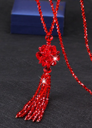 Длинное красное ожерелье хрустальные бусины код 1775