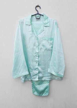 Пижама для сна и дома рубашка + штаны в полоску и горошек