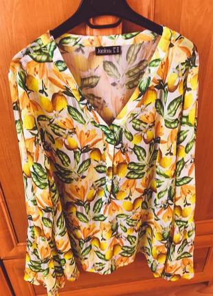 Рубашка блуза  в лимончики