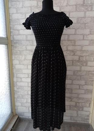 Новое платье в горошек со спущенными плечами
