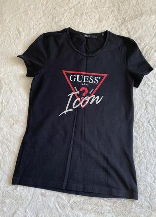 Чёрная футболка guess размер м