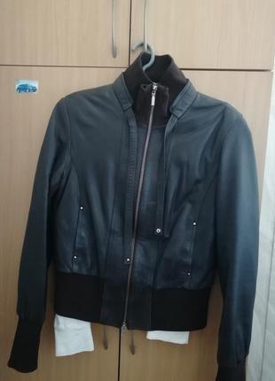 Короткая куртка кожа натуральная тёмный шоколад