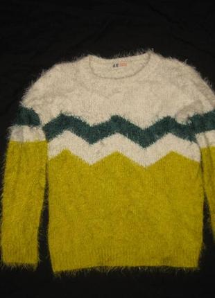 9-10 лет, яркий пушистый свитер травка от h&m