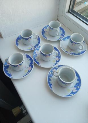 Сервіз набір кавові чашки і блюдечка