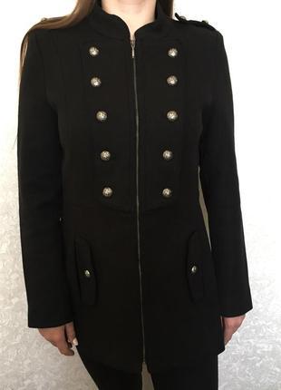 Пальто в составе шерсть / тренч пиджак на молнии/ полупальто