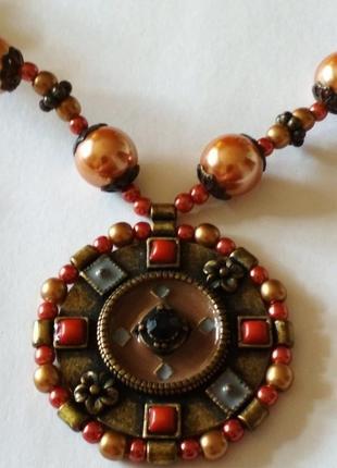 Колье в кельтском стиле жемчуг эмаль коралл винтажное