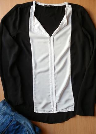 04433668568 Черно-белая прямая шифоновая блуза длинный рукав размер s-m Vila ...