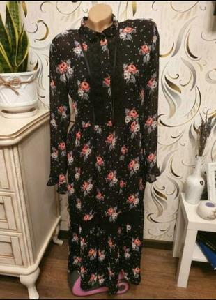 Красивое платье миди в цветочный принт h&m 40/10/170
