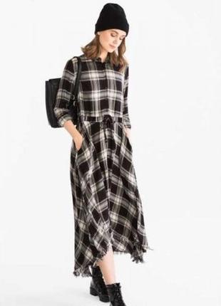 Sale до 05.04! платье-рубашка в клетку р.m-l, clockhouse, вискоза 100%
