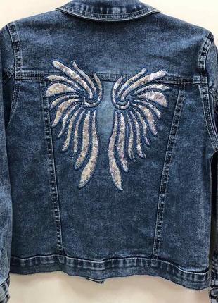 Джинсовая куртка для девочки крылья ангела производство турция (vanessa)