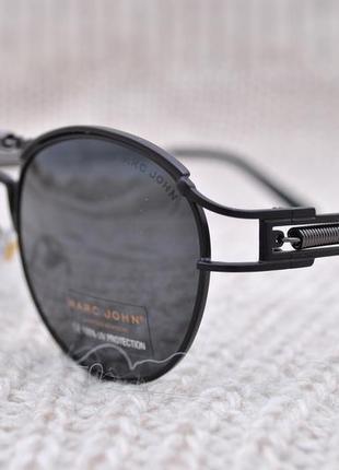 Фирменные солнцезащитные круглые очки marc john polarized mj0743 стимпанк с пружиной2 фото
