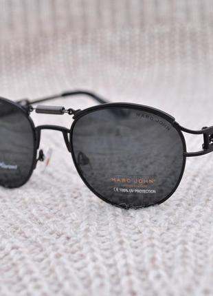 Фирменные солнцезащитные круглые очки marc john polarized mj0743 стимпанк с пружиной
