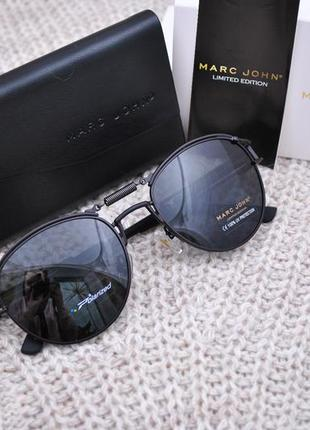 Фирменные солнцезащитные круглые очки marc john polarized mj0743 стимпанк с пружиной3 фото