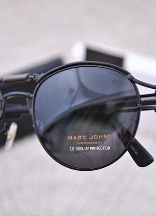 Фирменные солнцезащитные круглые очки marc john polarized mj0743 стимпанк с пружиной5 фото