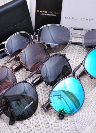 Фирменные солнцезащитные круглые очки marc john polarized mj0743 стимпанк с пружиной6 фото