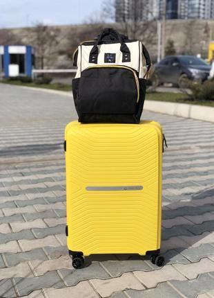 Качество! премиум серия! прочный  желтый средний пластиковый чемодан из полипропилена