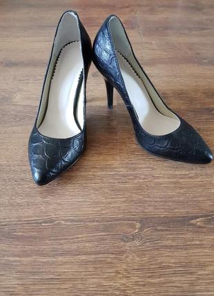 Туфли лодочки под рептилию (под питона) кожаные