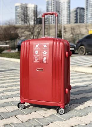 Качество! премиум серия! прочный бордовый средний пластиковый чемодан из полипропилена